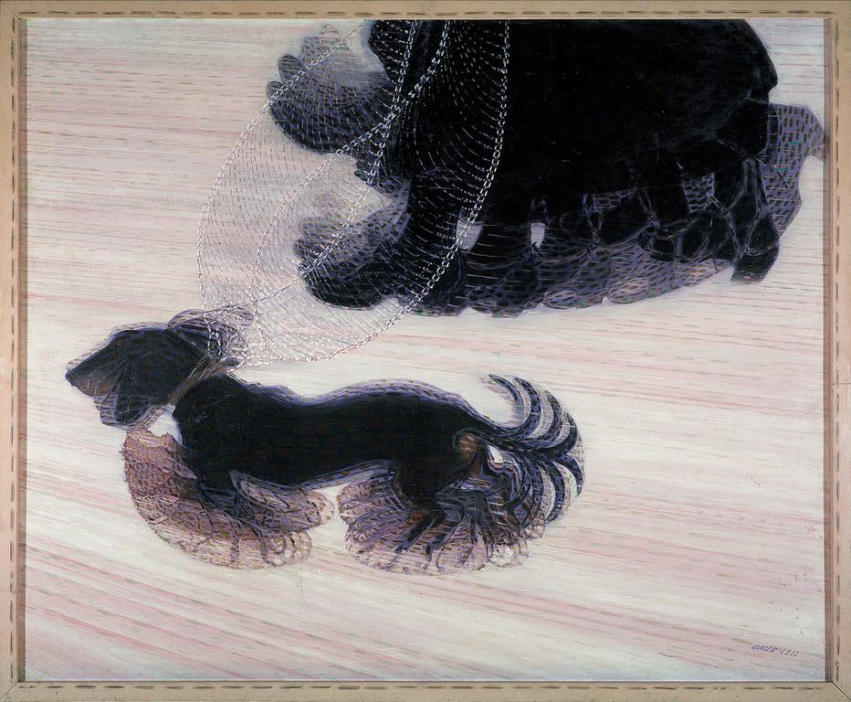 . Giacomo Balla, Dynamism of a Dog on a Leash, property of the Albright-Knox Art Gallery, Buffalo, NY.