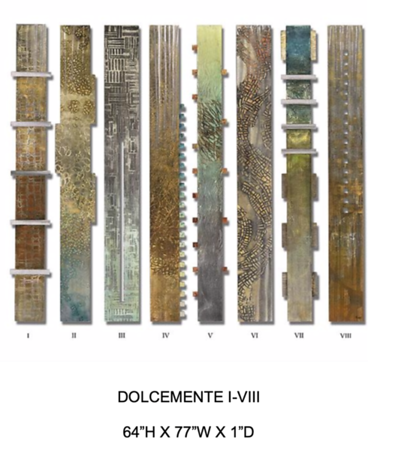 """Dolcemente I-VII by Hollack, 64""""high x 77""""wide x 1"""" deep painting on metal"""