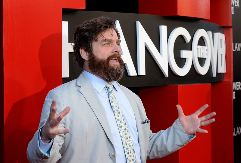 """. Actor Zach Galifianakis arrives at the premiere of Warner Bros. Pictures\' \""""Hangover Part 3\"""" on May 20, 2013 in Westwood, California.  (Photo by Kevin Winter/Getty Images)"""