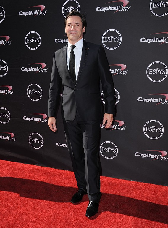 . Jon Hamm arrives at the ESPY Awards on Wednesday, July 17, 2013, at Nokia Theater in Los Angeles. (Photo by Jordan Strauss/Invision/AP)