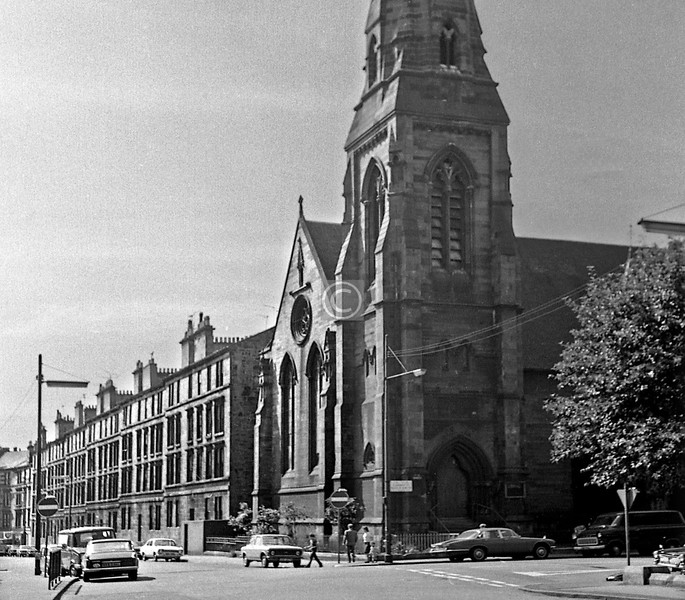 Berkeley St. at Claremont St.   The church is still there, home of the RSNO, and there is still a row of 4 storey tenements beyond, but I think replacements rather than refurbishments.   June 1975