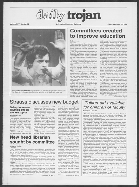 Daily Trojan, Vol. 95, No. 32, February 24, 1984