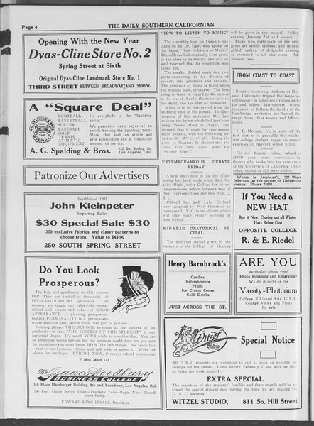 The Daily Southern Californian, Vol. 3, No. 65, January 21, 1914