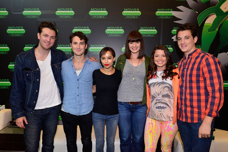 . Christian Madsen, Ben Lloyd-Hughes, Zoe Kravitz, Amy Newbold, Camille Ford and Miles Teller of \'Divergent\' attend an interview in the On Demand Lounge at Hard Rock Hotel San Diego on July 18, 2013 in San Diego, California.  (Photo by Jerod Harris/Getty Images for iN DEMAND)