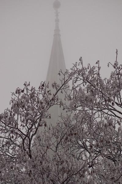 Nidarosdomen preget av tåke og rim (Foto: Ståle)