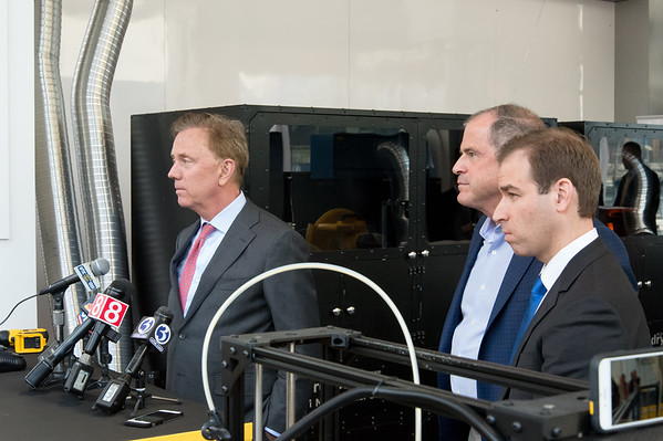 04/11/19 Wesley Bunnell | Staff Stanley Back & Decker launched their Advanced Manufacturing Center of Excellence, called Manufactury 4.0 on Thursday at its downtown Hartford location at 1 Constitution Plaza. Governor Ned Lamont, L,, President and CEO of Stanley Black and Decker Jim Loree and Hartford Mayor Luke Bronin.