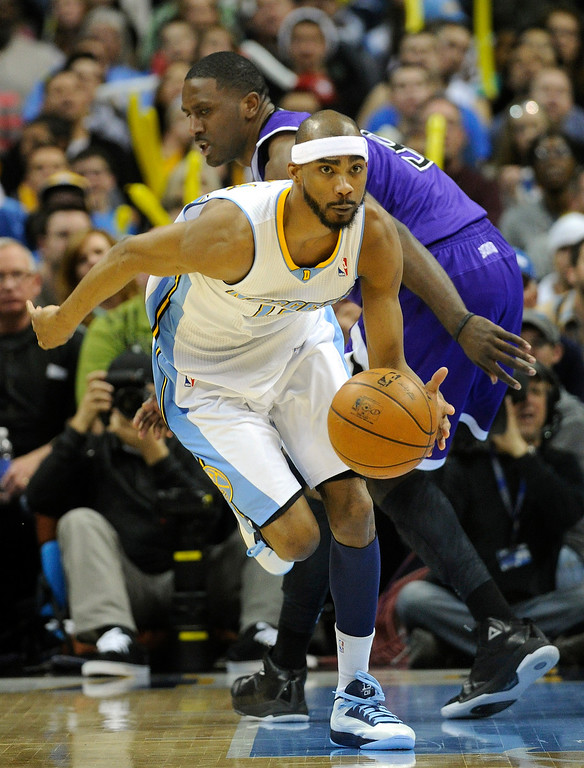 . DENVER, CO. - MARCH 22: Corey Brewer (13) of the Denver Nuggets came away with a steal in the second half. The Denver Nuggets defeated the Sacramento Kings 101-95 Saturday night, March 23, 2013 at the Pepsi Center. The Nuggets extended its longest winning streak since joining the NBA to 15 games with the win over the Kings. (Photo By Karl Gehring/The Denver Post)