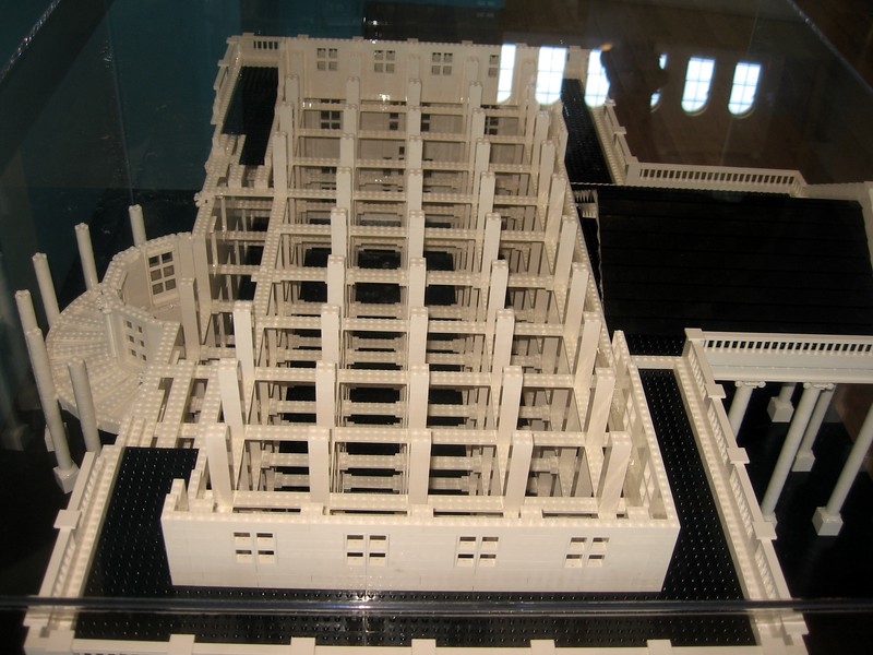 Partially completed LEGO model of the White House, by Adam Reed Tucker, in the LEGO® Architecture: Towering Ambition exhibit at the National Building Museum (4/24/11)