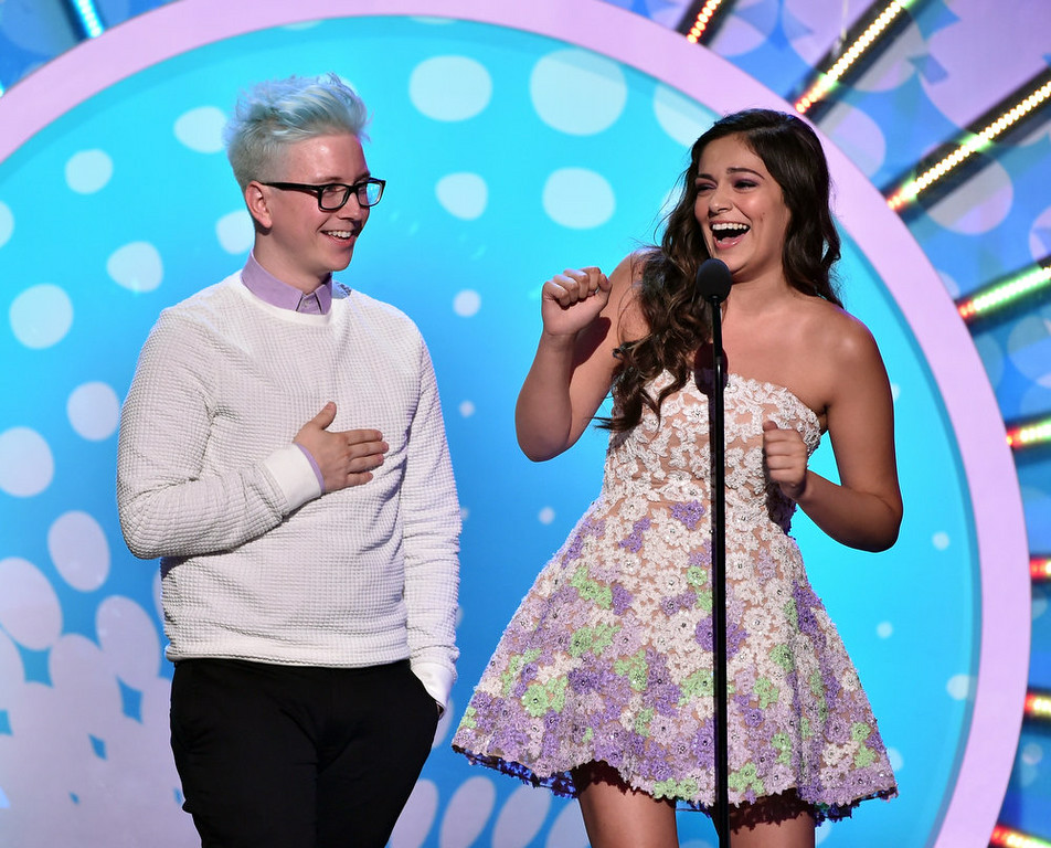 . Internet personalities Tyler Oakley (L) and Bethany Mota onstage during FOX\'s 2014 Teen Choice Awards at The Shrine Auditorium on August 10, 2014 in Los Angeles, California.  (Photo by Kevin Winter/Getty Images)