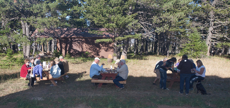 We moved the picnic tables out of the shed and everyone enjoyed dinner in the fine weather.