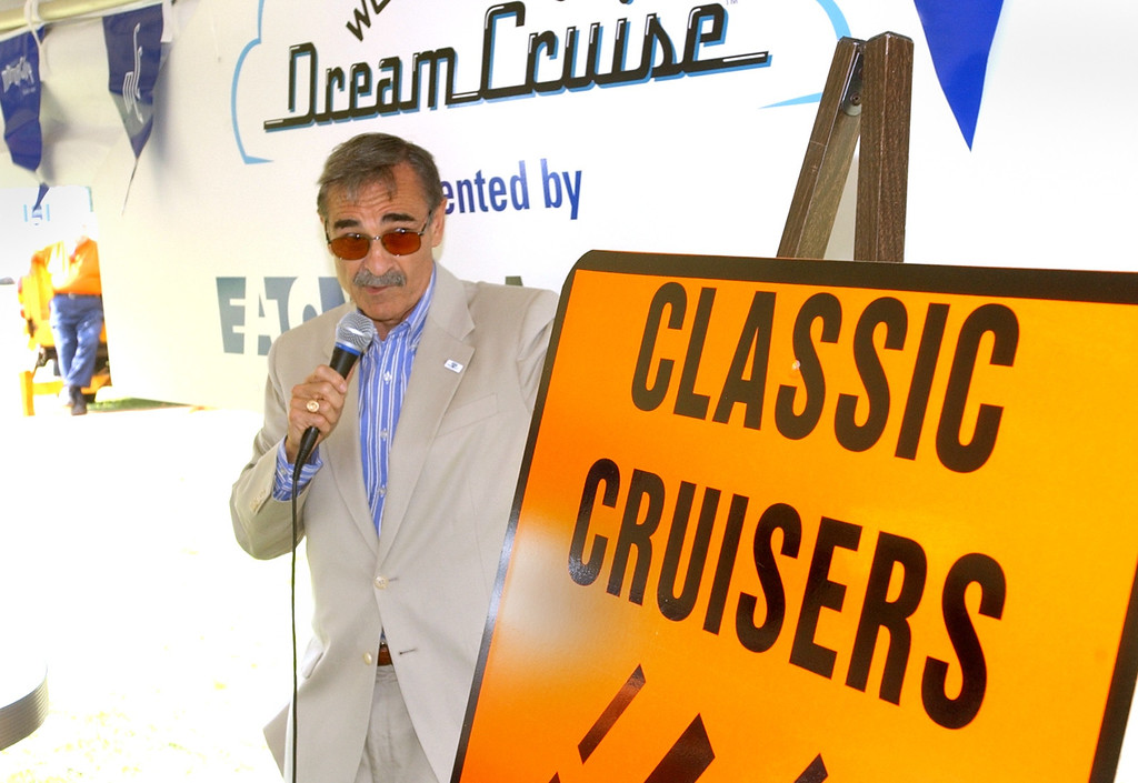 . WOMC\'s Dick Purtan MC\'s the kickoff luncheon of the 10th annual Woodward Dream Cruise, on Woodward between 13 and 14 Mile roads in Royal Oak.