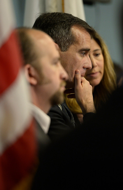 . Mayor Eric Garcetti is flanked by School Board members Steve Zimmer and Tamar Galatzan as they listen to LAUSD Superintendent John Deasy during a news conference to provide an update on the bus crash in Northern California at the LAUSD headquarters. Los Angeles, CA. 4/11/2014 (Photo by John McCoy / Los Angeles Daily News)