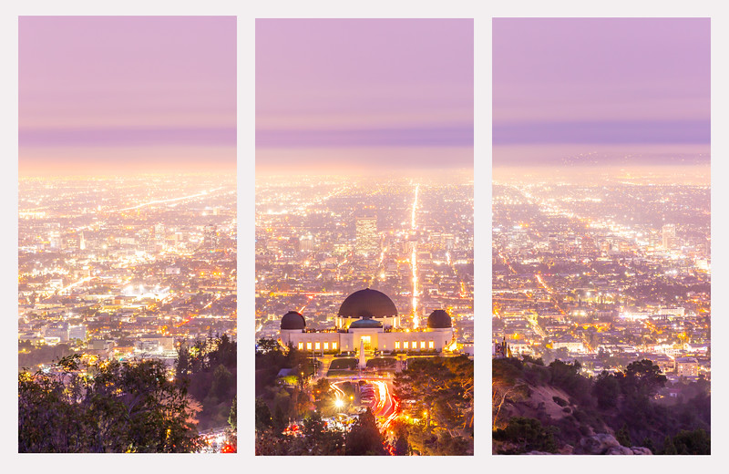triptych griffith observatory sunset.jpg