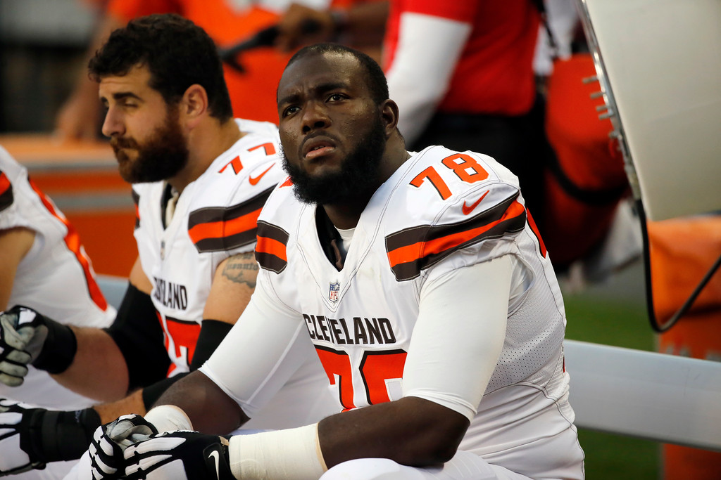 . Cleveland Browns offensive tackle Roderick Johnson (78) during the first half of an NFL football game against the Chicago Bears, Thursday, Aug. 31, 2017, in Chicago. (AP Photo/Charles Rex Arbogast)