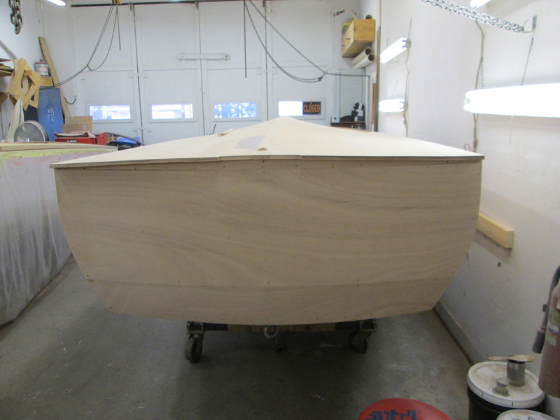Transom faired and sanded.