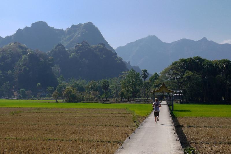 Karst rocks and a rural bridge through the rice paddies outside of Hpa-An, Burma.