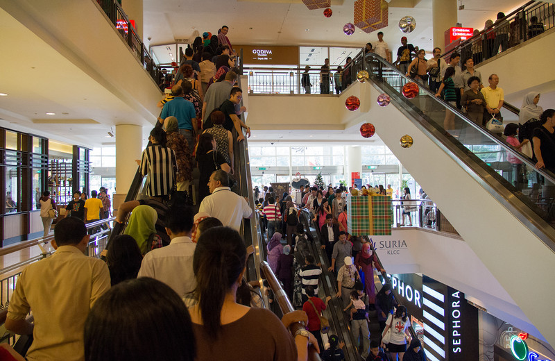 Crazy crowds at the high-end KLCC Mall on Christmas Eve.