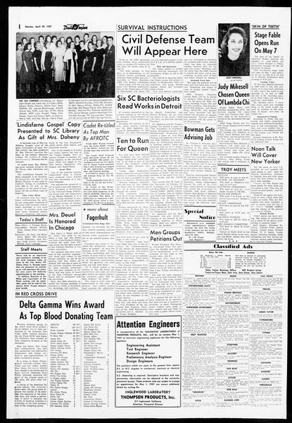 Daily Trojan, Vol. 48, No. 119, April 29, 1957