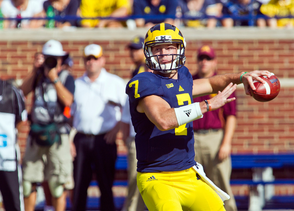 . Michigan quarterback Shane Morris (7) throws a pass in the first quarter of an NCAA college football game against Minnesota in Ann Arbor, Mich., Saturday, Sept. 27, 2014. (AP Photo/Tony Ding)