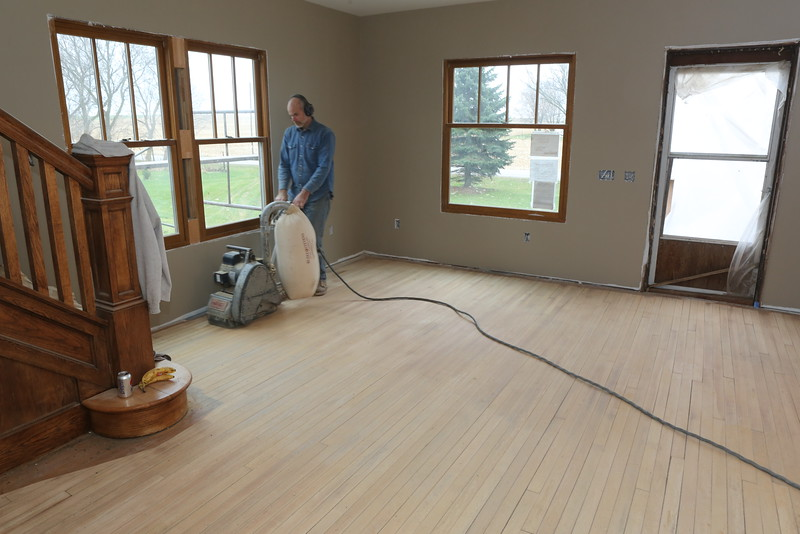 Jay putting the fine sanding on the downstairs