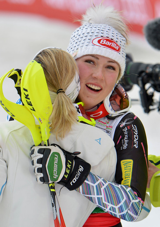 . United States\' Mikaela�Shiffrin celebrates winning the gold medal after the second run of the women\'s slalom at the Alpine skiing world championships in Schladming, Austria, Saturday, Feb. 16, 2013. (AP Photo/Kerstin Joensson)