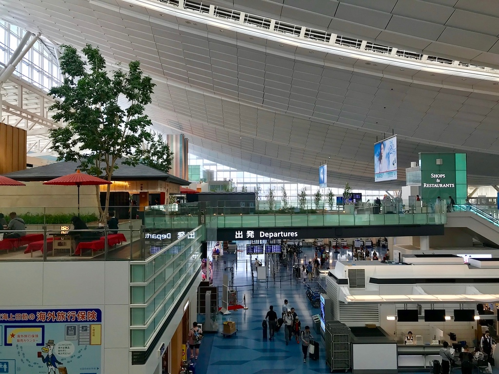 Inside the international terminal - light and airy.