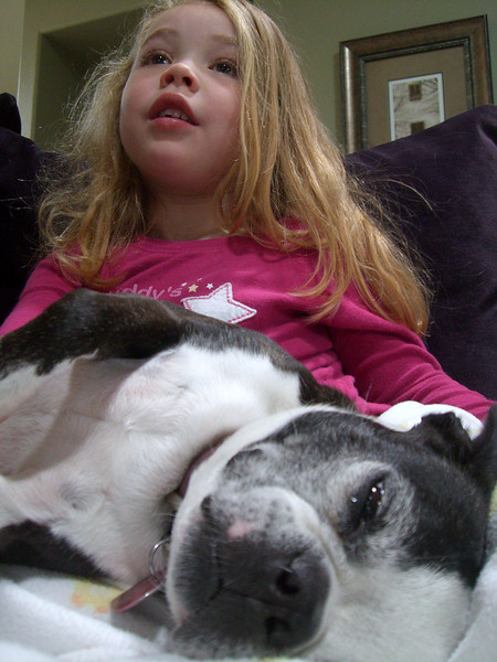 Watching TV with Chloe.