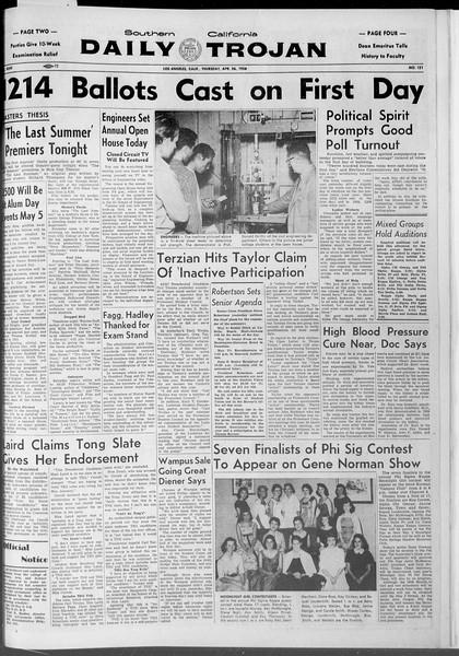 Daily Trojan, Vol. 47, No. 121, April 26, 1956