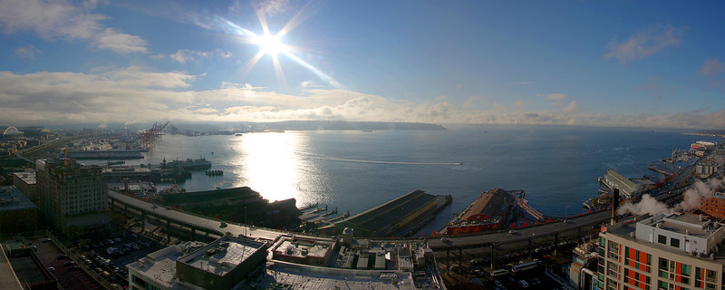 Some RARE November sunshine seen from our balcony! We created this with 6 separate photographs in Panorama Factory.