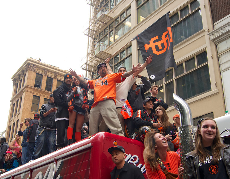 Fans celebrating the San Francisco Giants World Series 2012 Win