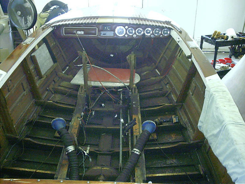 View looking forward with interior removed. Frames and keel completly oil soaked.