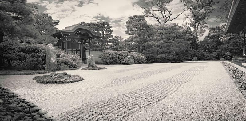 Kenninji Temple Rock Garden. Panorama.