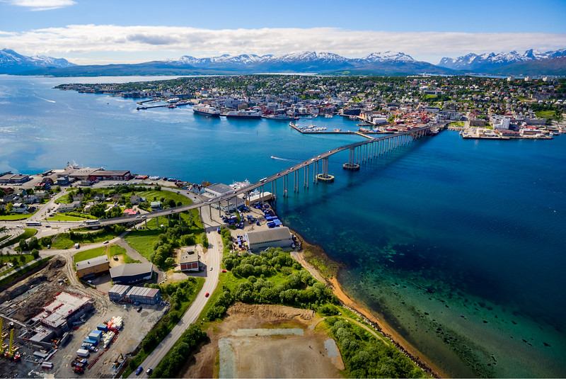 Bridge of city Tromso, Norway aerial photography