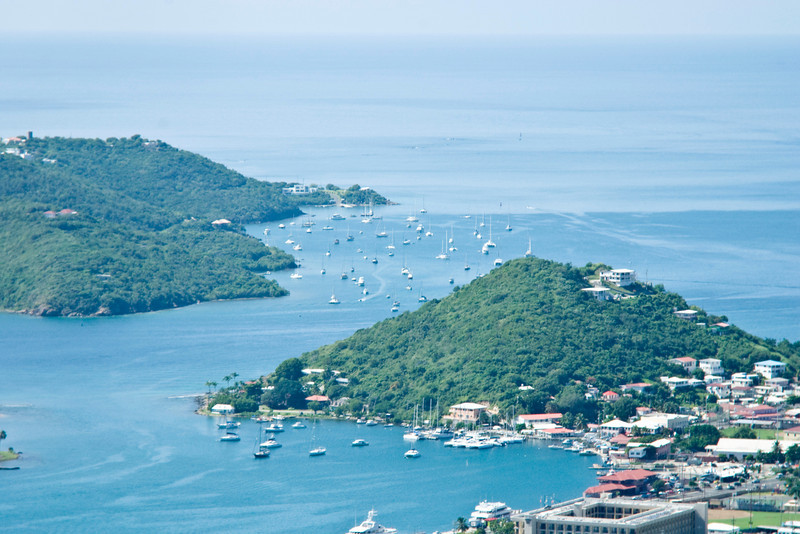 Looking down on the sailboats in the bays at St Thomas