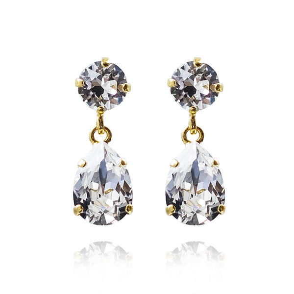 Mini Drop Earrings / Crystal Gold