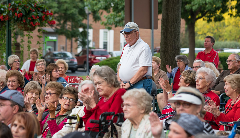 Veterans standing for their Service song