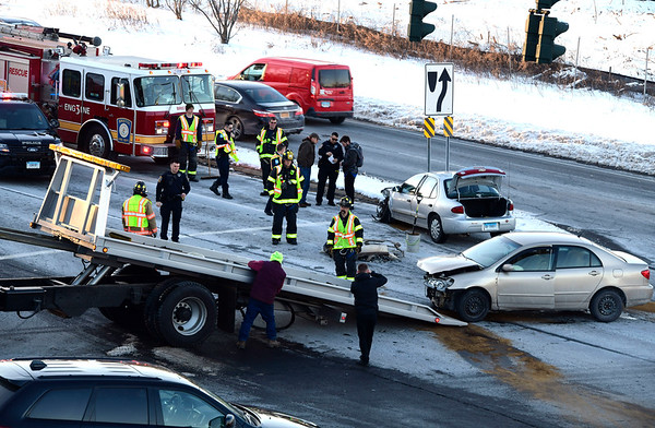 2/1/2019 Mike Orazzi | Staff The scene of a two-car crash at the intersection of Route 72 and Lincoln Avenue in Bristol Friday afternoon.