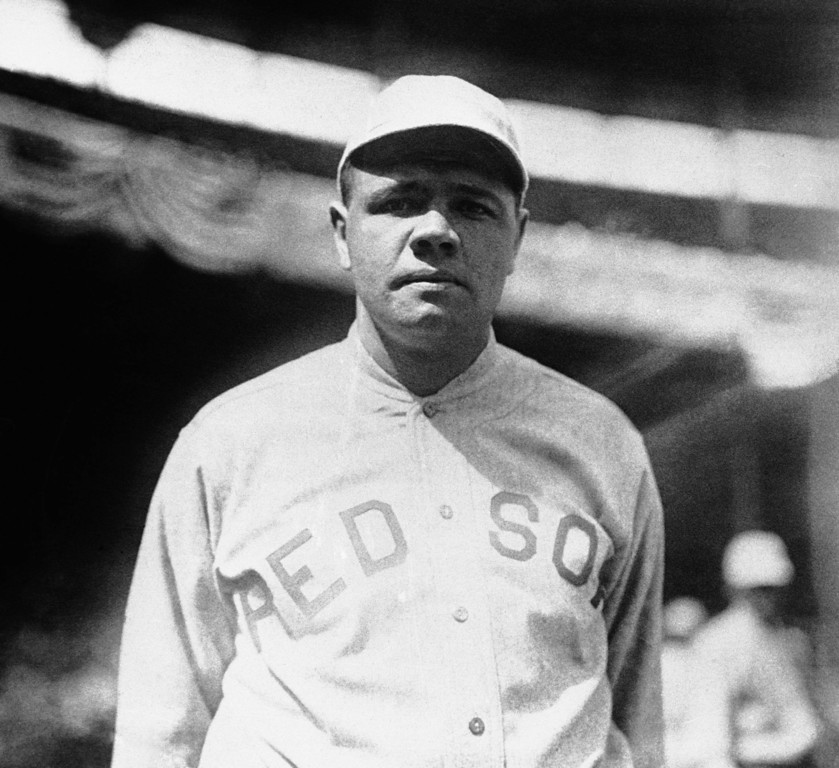 . FILE - This 1919 file photo shows Boston Red Sox player Babe Ruth. Ruth played in the 1918 World Series against the Chicago Cubs that the Red Sox won 4-2.  In a 1920 court deposition on display at the Chicago History Museum by Chicago White Sox pitcher Eddie Cicotte,  one of the key members from the infamous 1919 Black Sox scandal, he hinted that the White Sox got the idea to throw the 1919 World Series after the Chicago Cubs threw the 1918 World Series. (AP Photo/File)