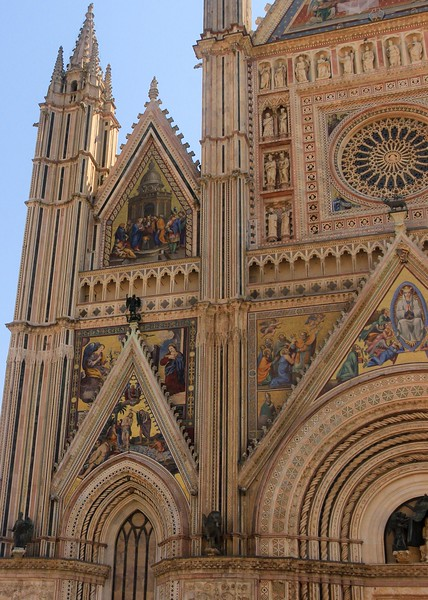 The Orvieto Cathedral exterior mosaics took 40 years to complete and were finished in 1390. They were replaced or redesigned 4 more times since.