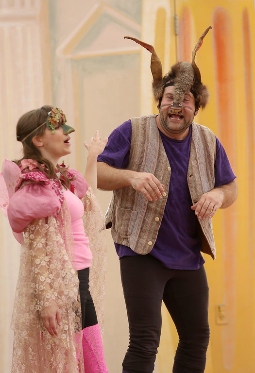". Steven Westdahl, right, and Amber Sommerfeld, left, perform in San Francisco Shakespeare\'s ""A Midsummer Night\'s Dream\"" on the Aesop\'s Playhouse stage at Children\'s Fairyland in Oakland, Calif., on Friday, March 15, 2013.  (Jane Tyska/Staff)"