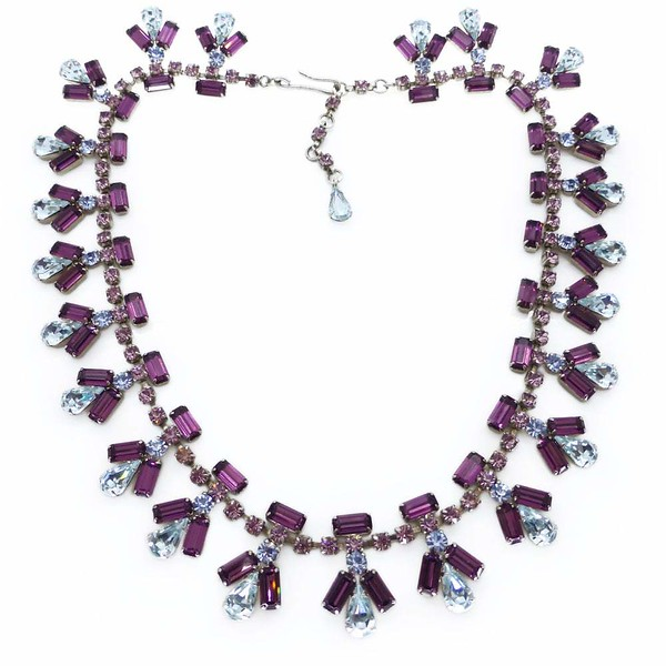 Vintage Mid Century Purple Lilac & Blue Rhinestone Panel Necklace