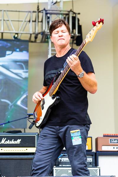 Brad Eavenson, bassist of Lochness Monster performing at SunFest, May 2, 2019. [JOSEPH FORZANO]