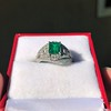 1.29ctw Emerald and Diamond Modified Halo Ring 25