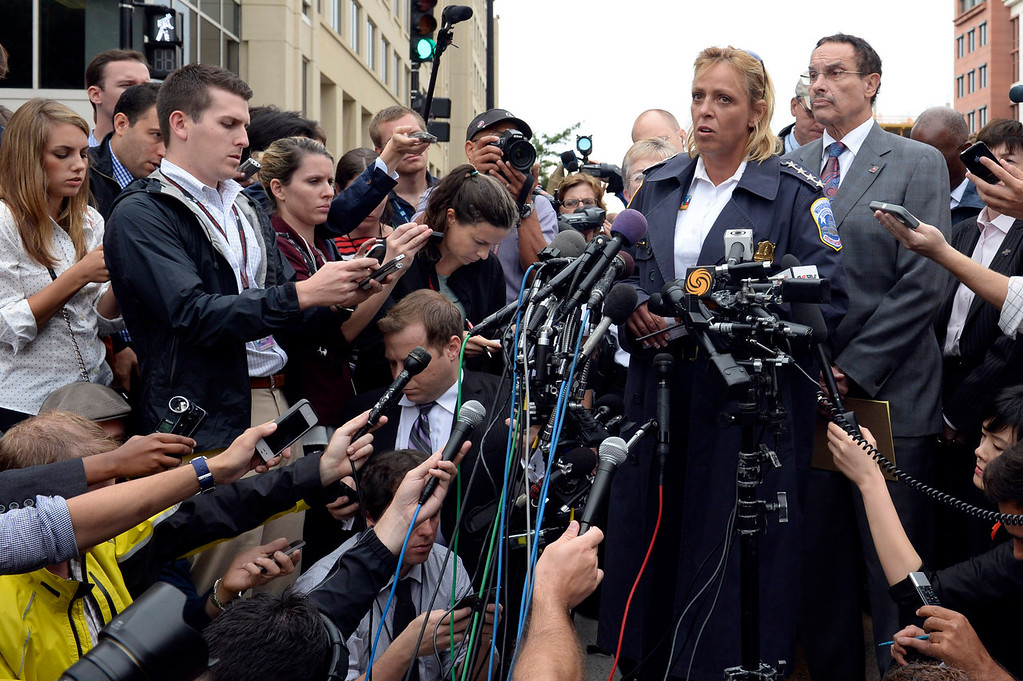 . District of Columbia Police Chief Cathy Lanier briefs reporters on the shooting at the Washington Navy Yard in Washington, Monday, Sept. 16, 2013. Standing to the right of Lanier is District of Columbia Mayor Vincent Gray. At least one gunman opened fire inside a building at the Washington Navy Yard on Monday morning (AP Photo/Susan Walsh)
