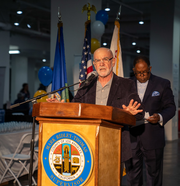 WesternU College of Optometry students, faculty and staff took part in a free mega-clinic, Care Harbor LA Friday, Nov. 15, 2019. Students and faculty from other colleges plan to participate over the weekend. Howard Kahn speaks at a press conference. (Jeff Malet, WesternU)