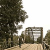 Biker on Bridge at War Eagle