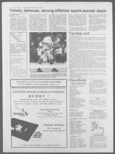 Daily Trojan, Vol. 105, No. 15, September 23, 1987