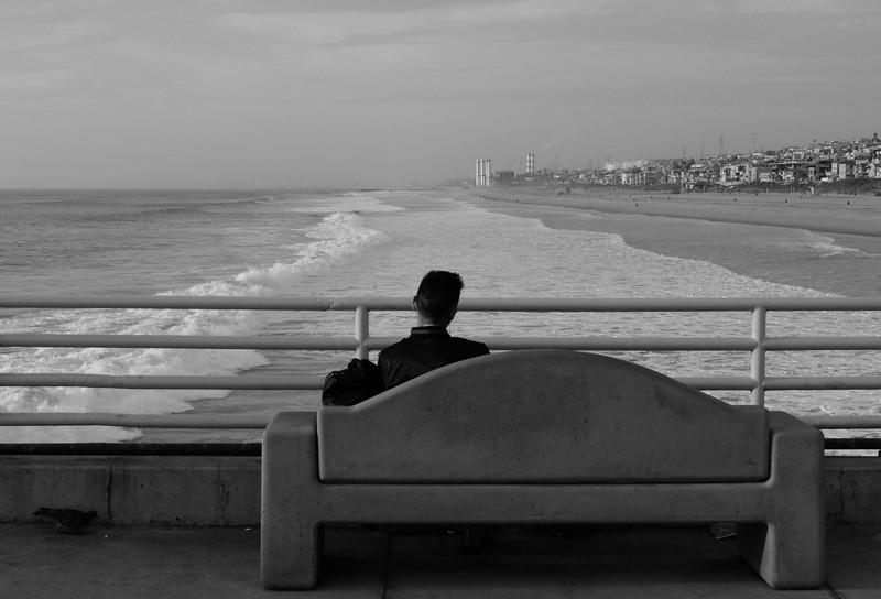 Man Waiting with Bird