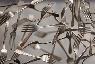 Flying Forks - photographing animated inanimate objects mid-flight