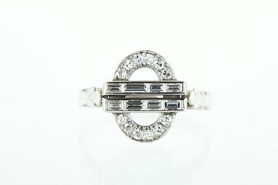 Art Deco Platinum, Gold and Diamond Ring